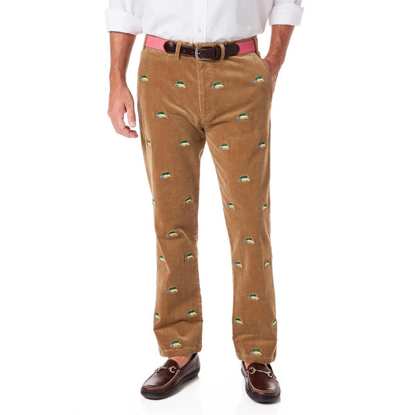 Beachcomber Corduroy Pants in Khaki with Embroidered Woody and Christmas Trees by Castaway Clothing