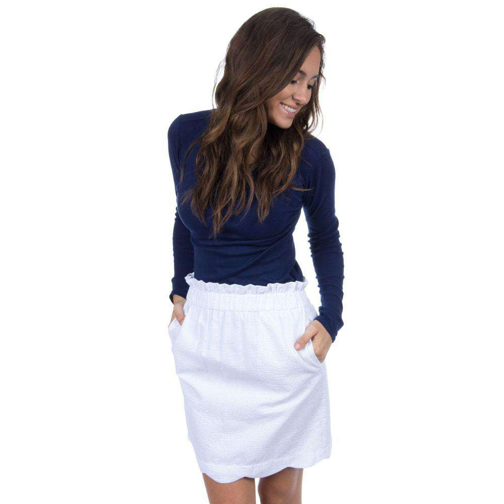 Scalloped Solid Seersucker Skirt in Snow White by Lauren James