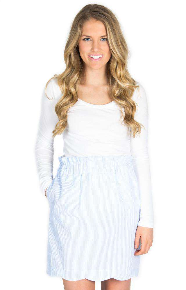 Scalloped Seersucker Skirt in Light Blue by Lauren James  - 1