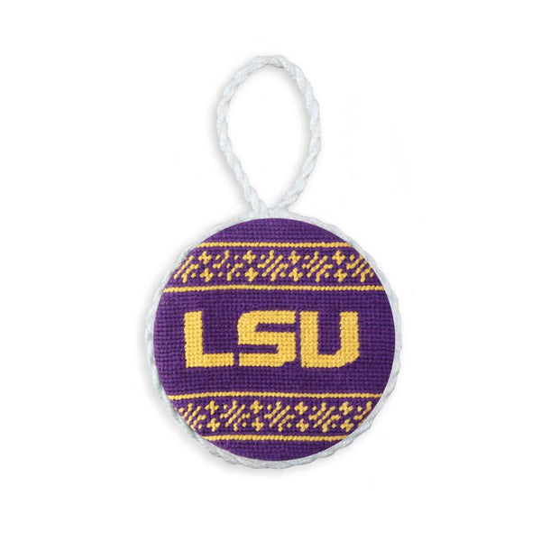 LSU Fairisle Needlepoint Ornament by Smathers & Branson