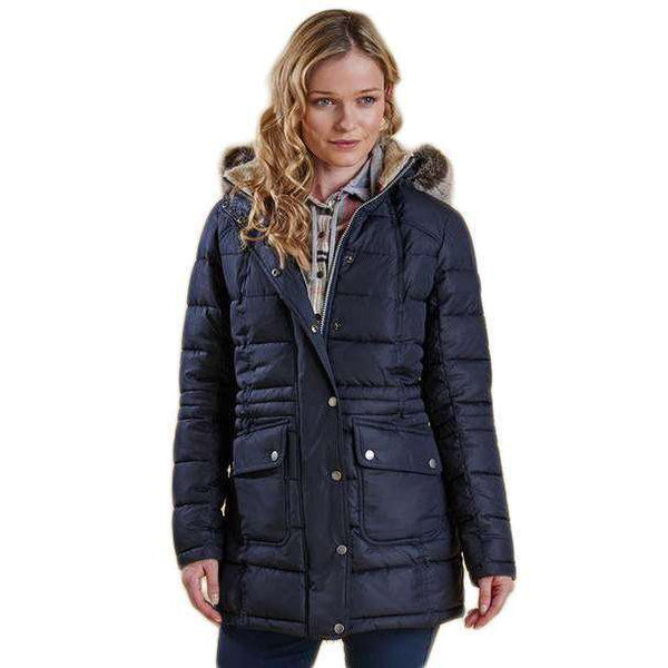 Landry Long Quilted Jacket in Navy by Barbour - FINAL SALE