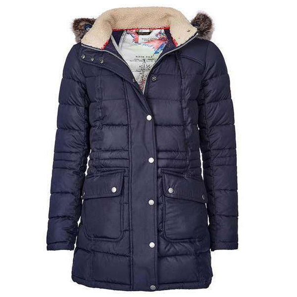 Landry Long Quilted Jacket in Navy by Barbour  - 1