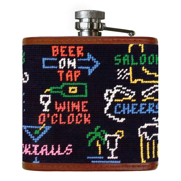 Last Call Needlepoint Flask in Midnight by Smathers & Branson