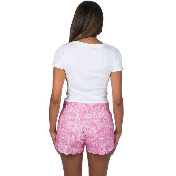 Print Scallop Shorts in Ruffle Some Feathers by Lauren James - FINAL SALE