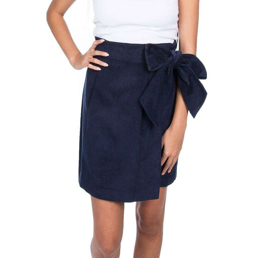 Lauren James Corduroy Wrap Skirt in Navy
