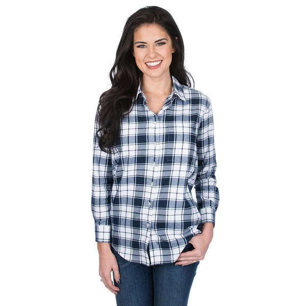Lauren James Hayden Boyfriend Flannel in Navy