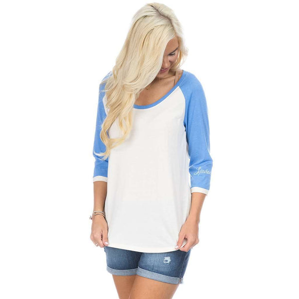 Lauren James Heathered Baseball Tee in Delta Blue
