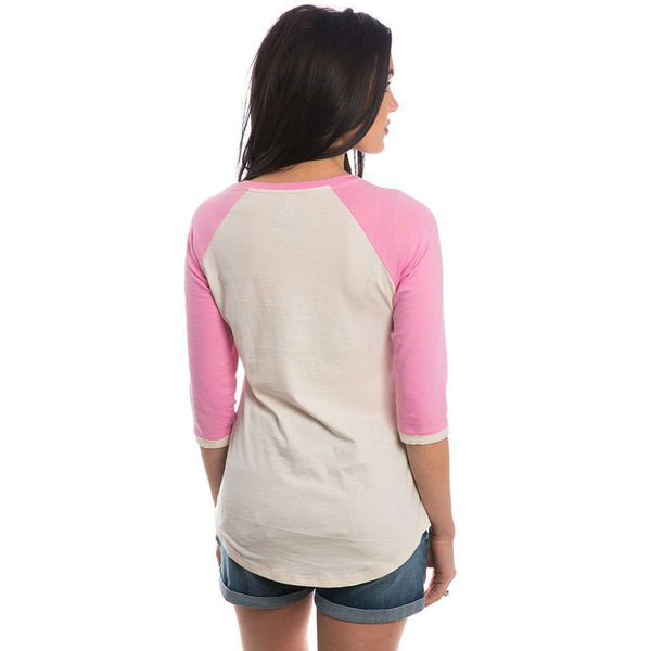 Lauren James Heathered Baseball Tee in LJ Pink