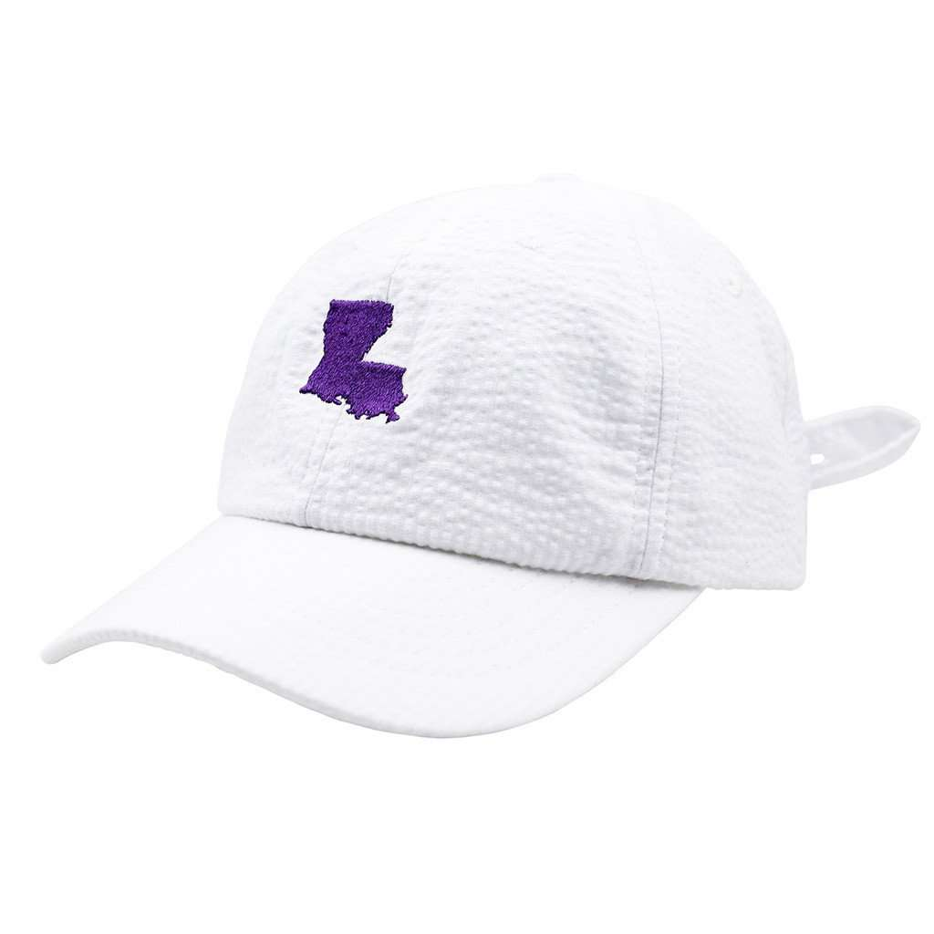 Louisiana Seersucker Hat in White with Purple by Lauren James  - 1