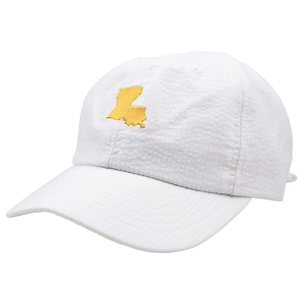Louisiana Seersucker Hat in White with Yellow by Lauren James  - 1