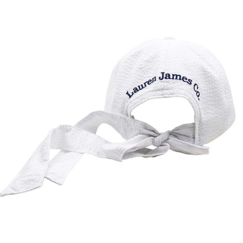 Mississippi Seersucker Hat in White with Navy by Lauren James - Country Club Prep