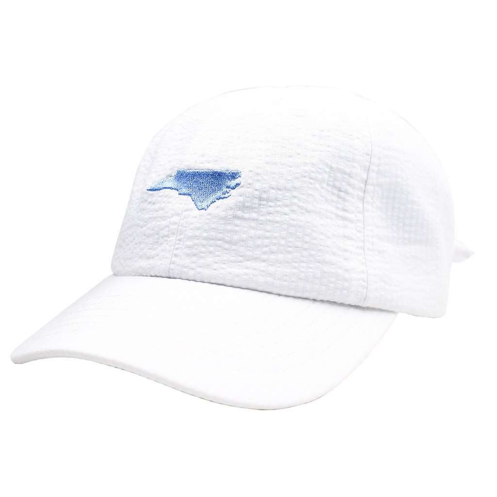 North Carolina Seersucker Bow Hat in White with Light Blue by Lauren James  - 1