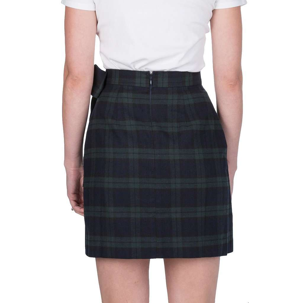 Lauren James Plaid Wrap Skirt in Navy