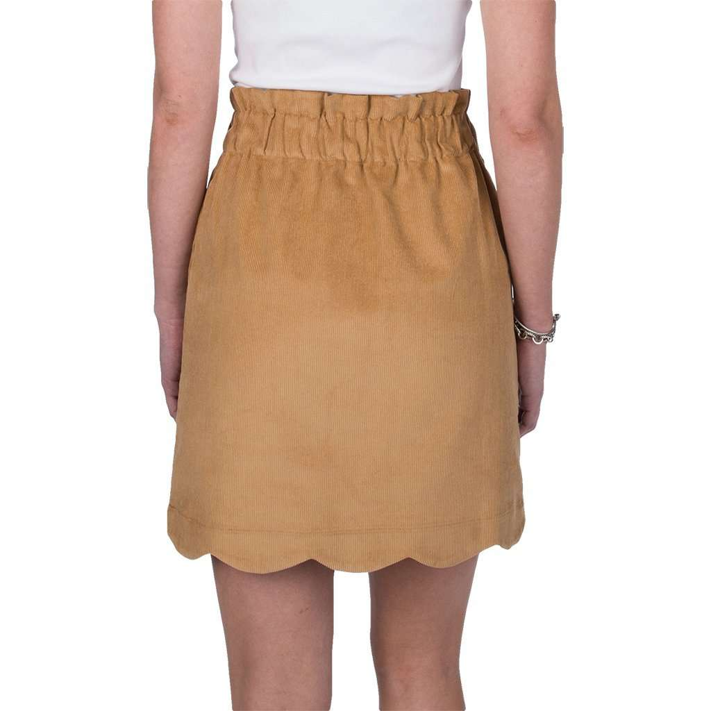 Lauren James Scallop Corduroy Skirt in Camel