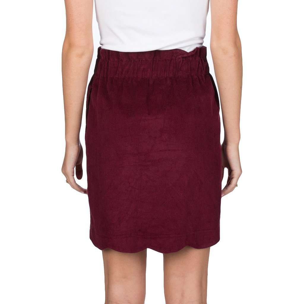 Lauren James Scallop Corduroy Skirt in Cranberry