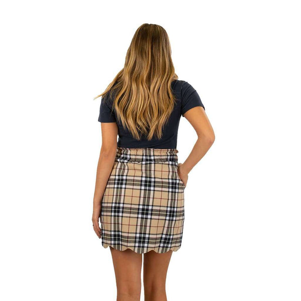 Lauren James Scallop Plaid Flannel Skirt in Camel