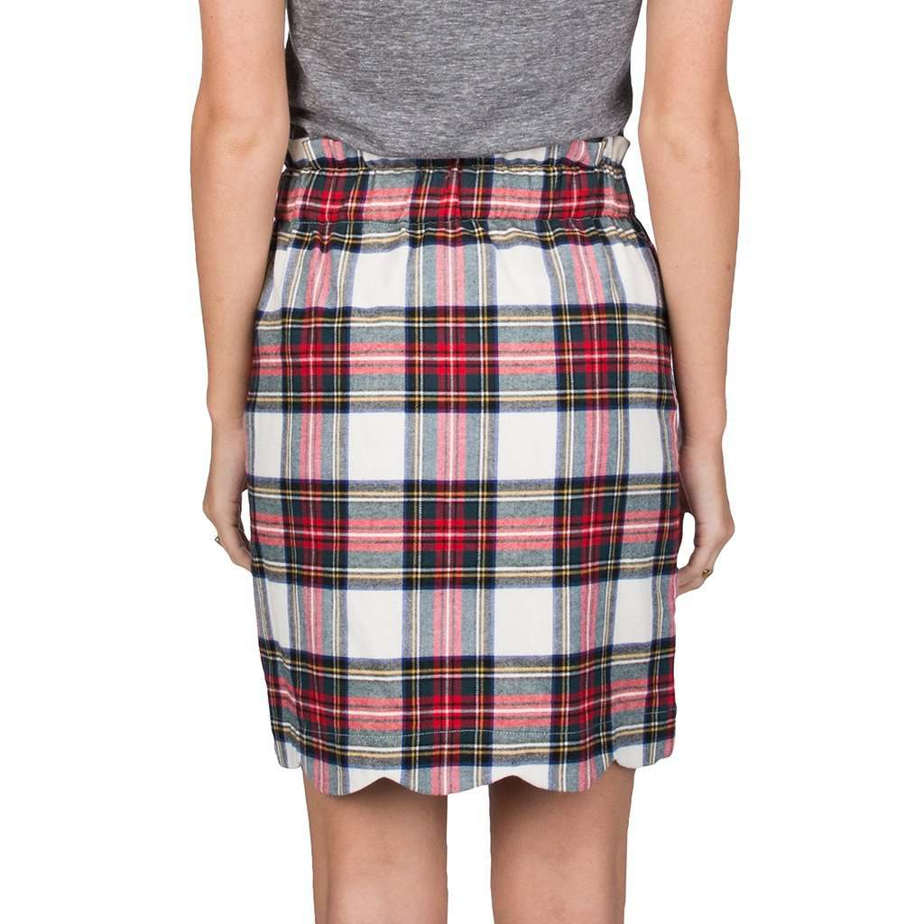 Lauren James Scallop Plaid Flannel Skirt in Ivory