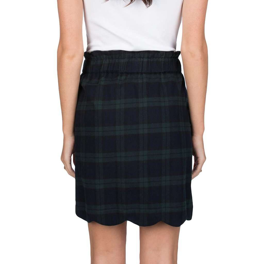 Lauren James Scallop Plaid Flannel Skirt in Navy