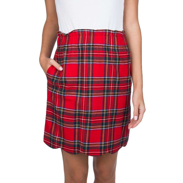 Lauren James Scallop Plaid Flannel Skirt in Red