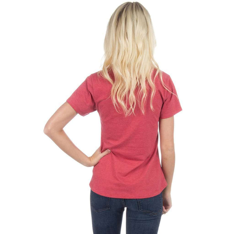 Short Sleeve Pocket V-Neck Tee in Heather Red by Lauren James - FINAL SALE