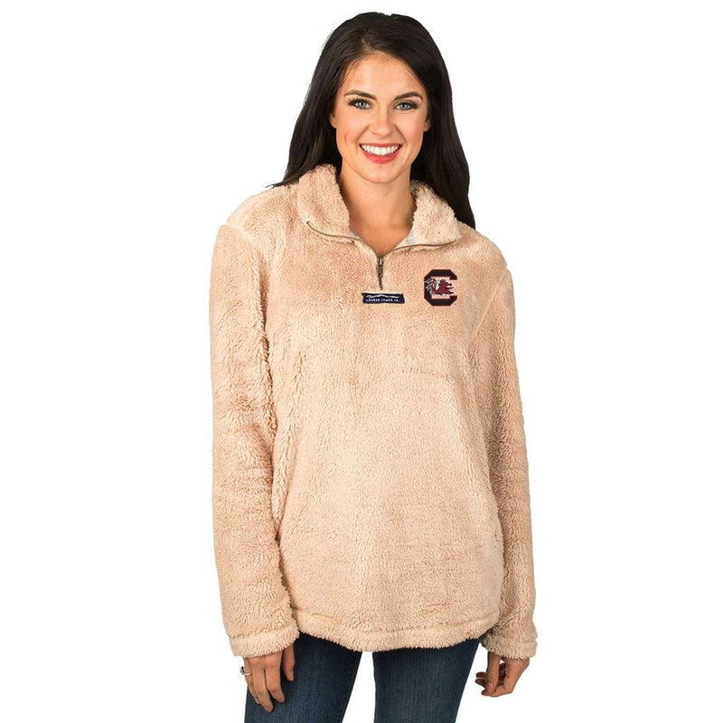 Lauren James South Carolina Linden Sherpa Pullover in Sand