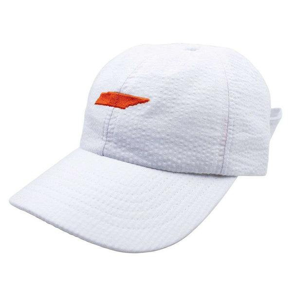 Tennessee Seersucker Hat in White with Orange by Lauren James  - 1