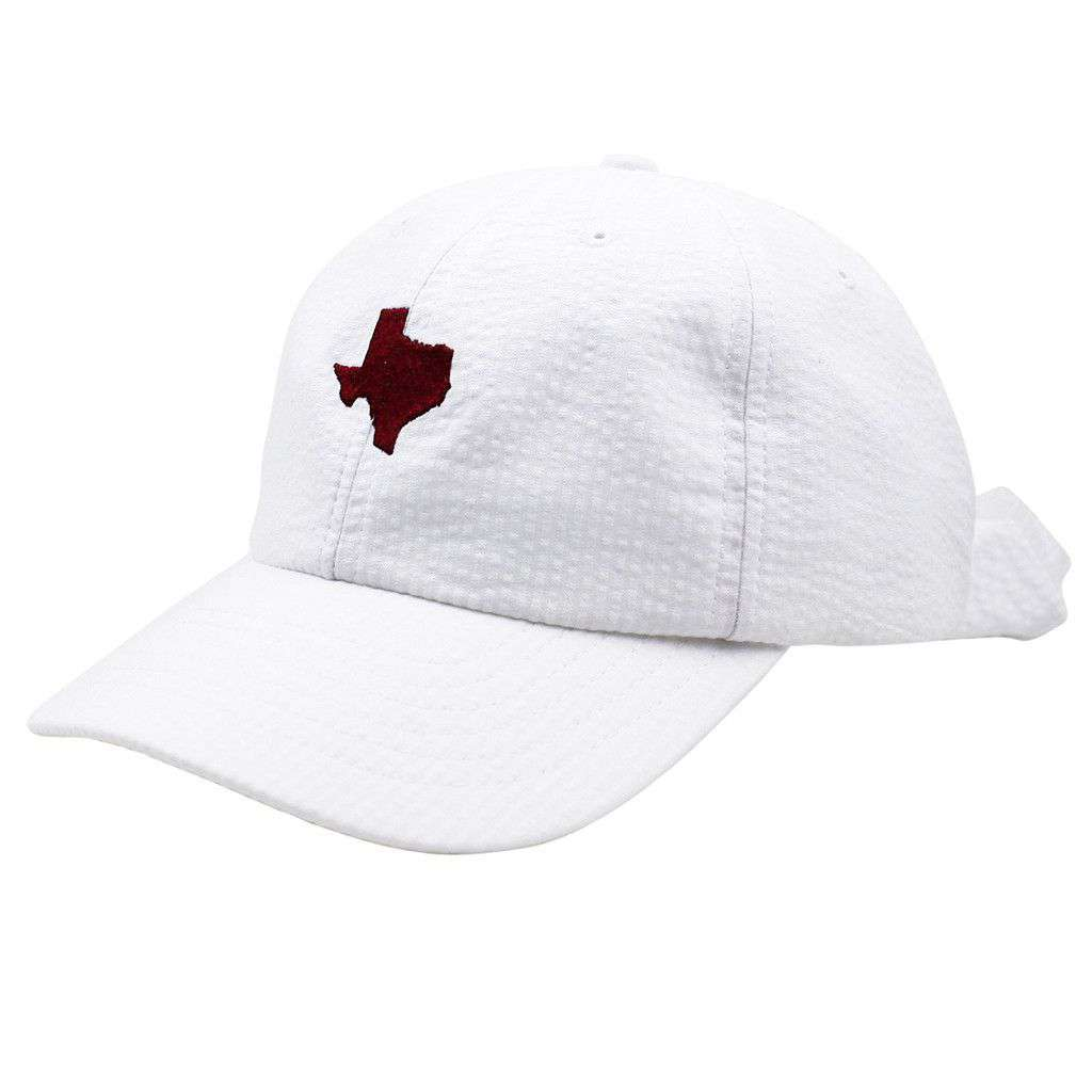 Texas Seersucker Hat in White with Crimson by Lauren James  - 1