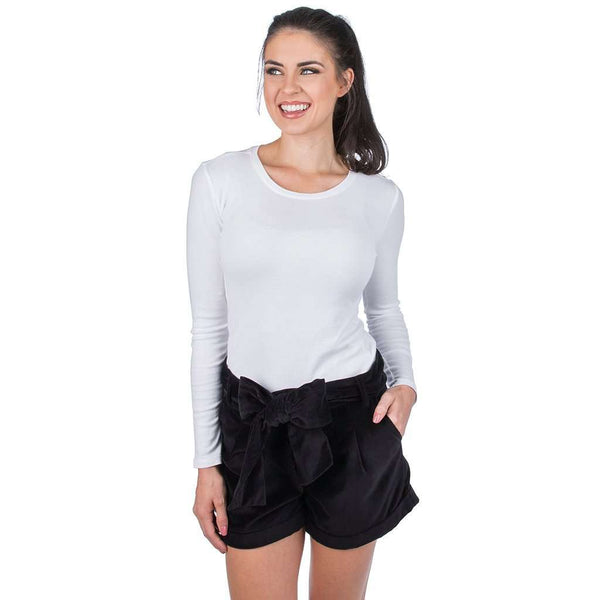 Lauren James Velvet Bow Shorts in Black