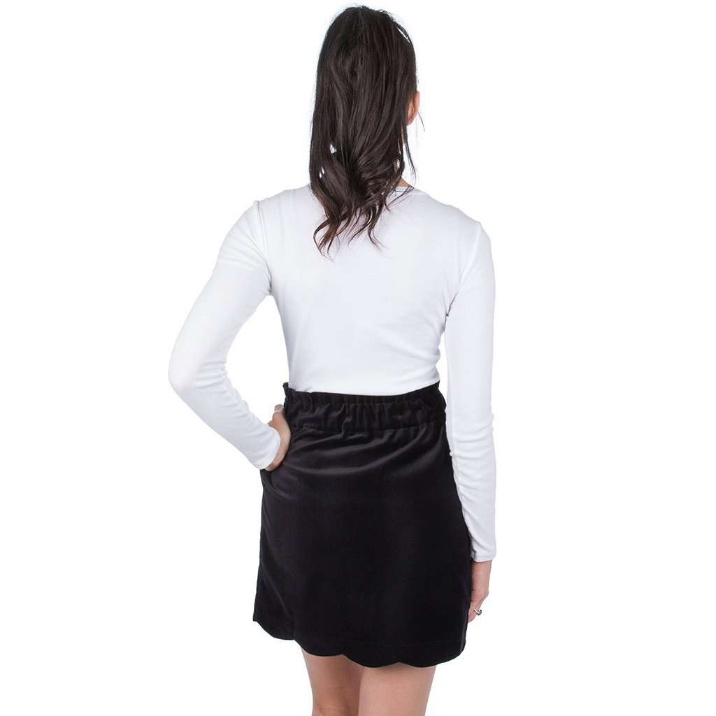 Lauren James Velvet Scallop Skirt in Black