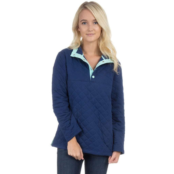 The Lawson Quilted Pullover in Estate Blue by Lauren James  - 1