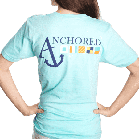 Nautical Flag Tee Shirt in Light Aqua by Anchored Style - FINAL SALE