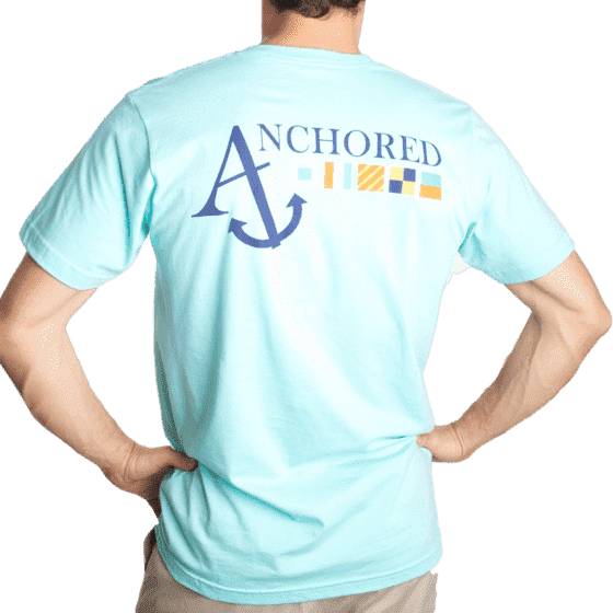 Nautical Flag Tee Shirt in Light Aqua by Anchored Style  - 1