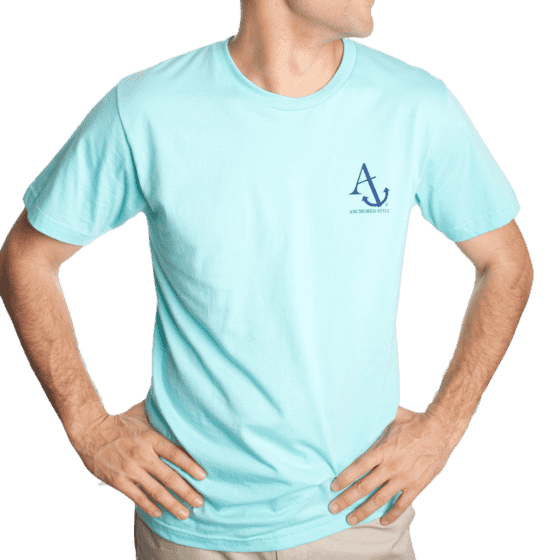 Nautical Flag Tee Shirt in Light Aqua by Anchored Style  - 4