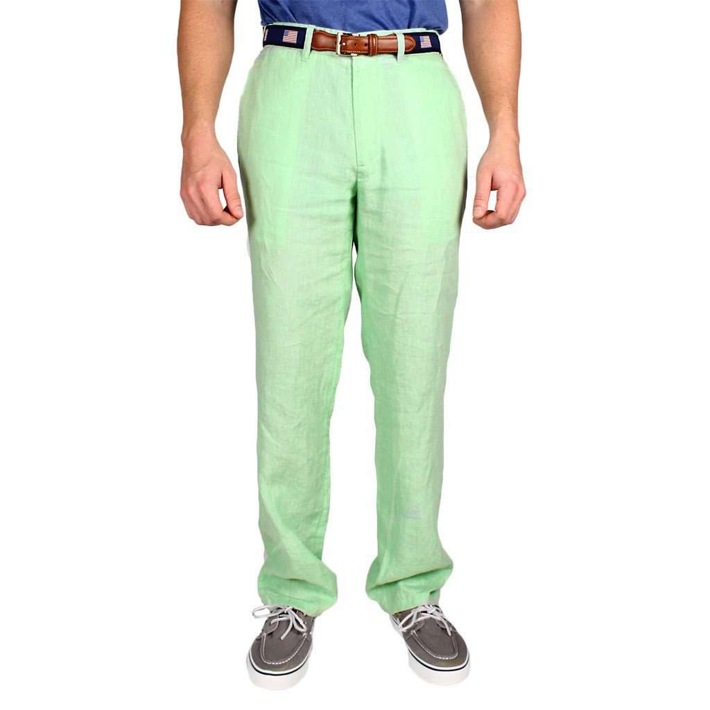 "Lighthouse Linen Pants in Seafoam Green (30"" inseam) by Castaway Clothing  - 1"