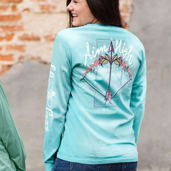 Aim High Long Sleeve Tee in Chalky Mint by Lily Grace