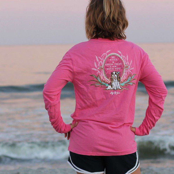 Be Still & Know That I am With You Long Sleeve Tee in Crunchberry by Lily Grace - FINAL SALE
