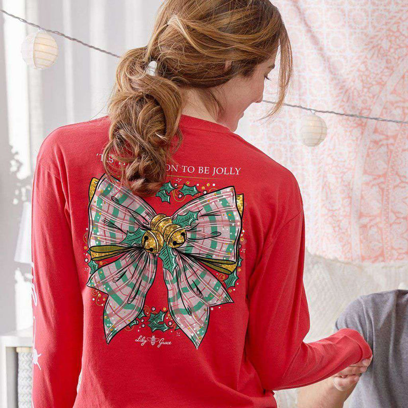 Christmas Bow Long Sleeve Tee in Red by Lily Grace