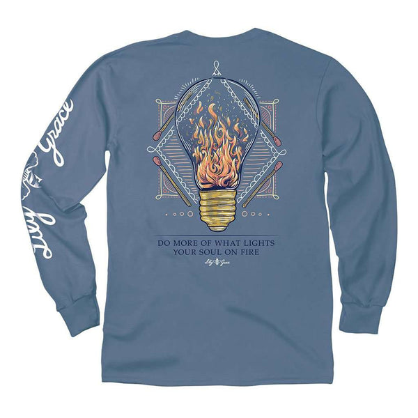Lily Grace Lightbulb Fire Long Sleeve Tee in Marine