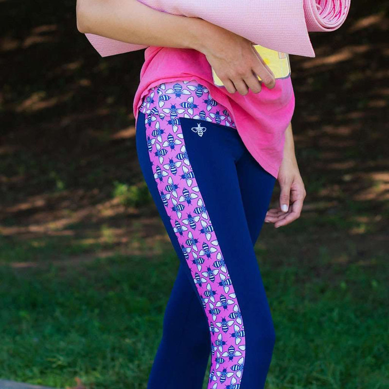 Logo Bee Leggings in Pink by Lily Grace - FINAL SALE