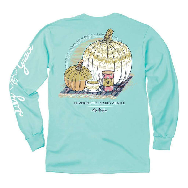 Lily Grace Pumpkin Spice Long Sleeve Tee in Chalky Mint