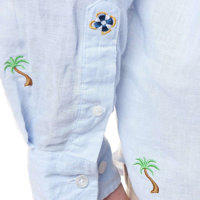 Castaway Clothing Straight Wharf Linen Shirt with Embroidered Palm Tree by Castaway Clothing