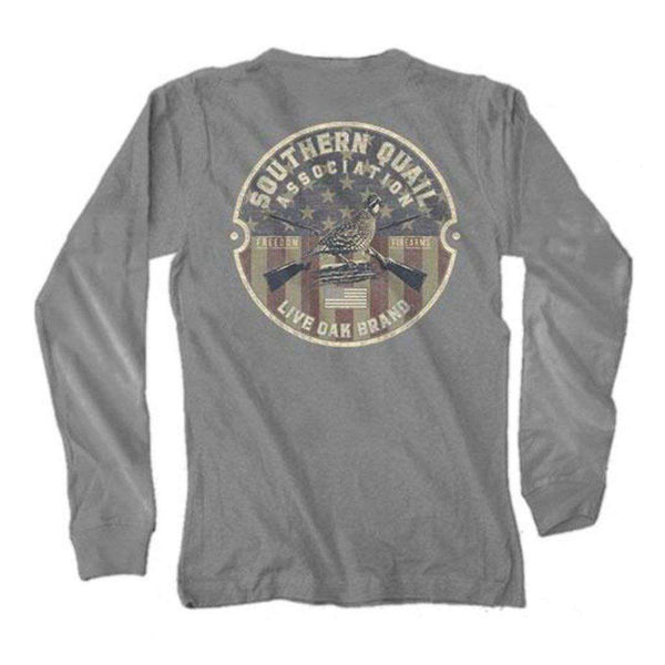 Live Oak Circle Quail Long Sleeve Tee in Grey
