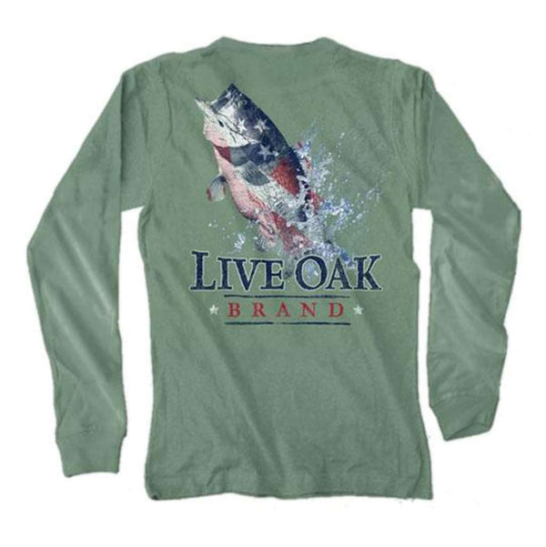 Live Oak USA Bass Long Sleeve Tee in Light Green