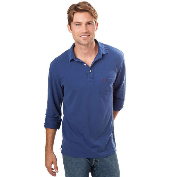 Long Sleeve Beachside Polo in Blue Night by Southern Tide  - 1