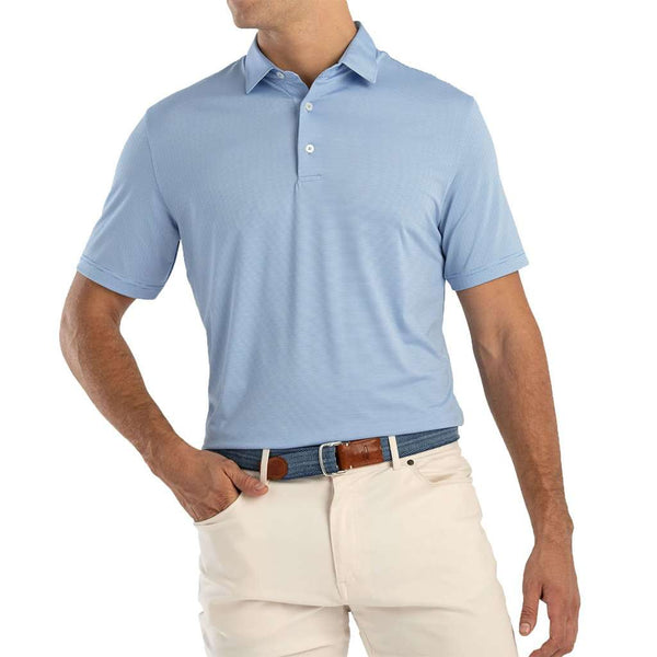 Lyndon Striped Prep-Formance Jersey Polo in Capri by Johnnie-O