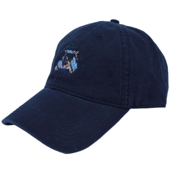 Golf Cart Twill Hat in Navy w/ Madras by Country Club Prep  - 1