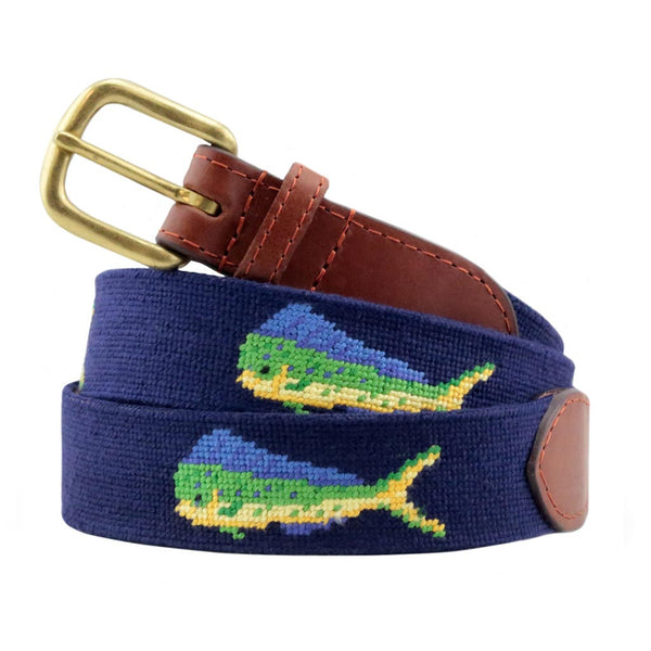 Mahi Mahi Needlepoint Belt by Smathers & Branson