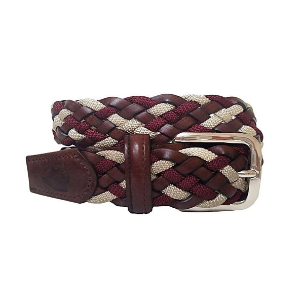 The Privilege Leather and Rayon Woven Belt in Malbec by Bucks Club