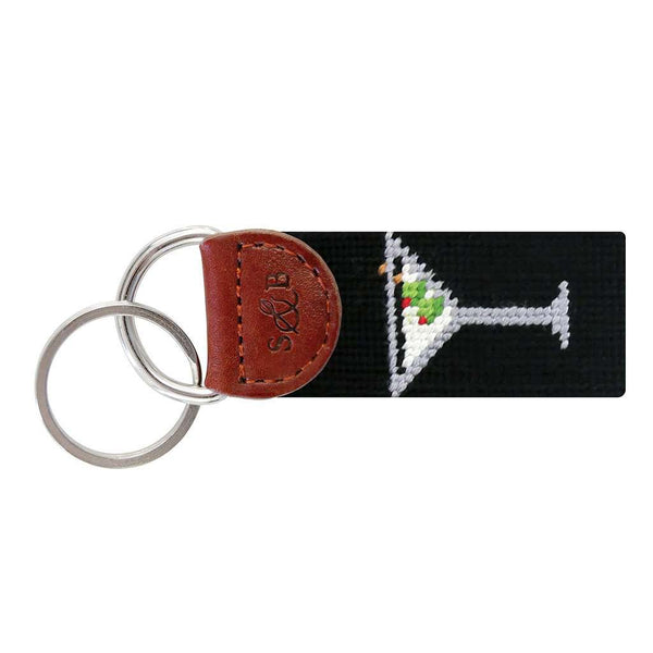 Martini Needlepoint Key Fob in Black by Smathers & Branson