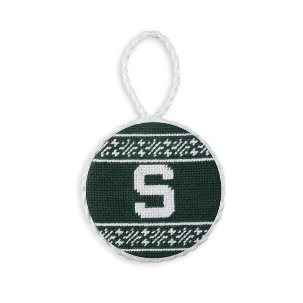Michigan State University Fairisle Needlepoint Ornament by Smathers & Branson